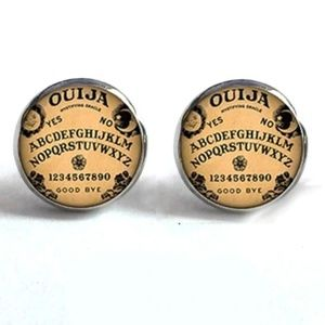 Jewelry - NEW Silver Tone Ouija Board Round Stud Earrings